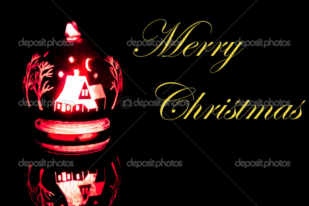 Detail of  brighter christmas decoration on black background with space for text  Stock Photo #7786293