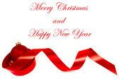 Vánoční dekorace a jeden červený míček — Stock fotografie