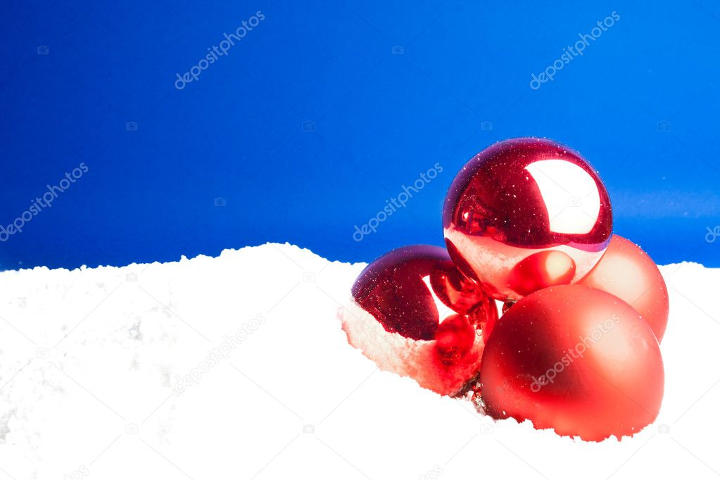 Close up of a christmas decoration balls on blue background - empty space for text  Stock Photo #7827584