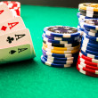 Chips poker and poker aces — Stock Photo