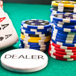 Dealer chips poker poker aces — Stock Photo #7838224