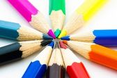 Colorful pencils arranged in circle — Stock Photo