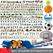 280 Sport equipment silhouettes set — Stock Vector