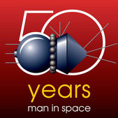 50 years Man in Space Emblem — Stock Vector