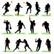 American Football Players Silhouettes Set — Stock Vector #6761527