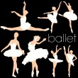 Stock Vector: Ballet Dancers Silhouettes Set