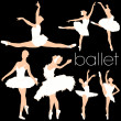 Royalty-Free Stock Vectorafbeeldingen: Ballet Dancers Silhouettes Set