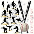Stock Vector: Baseball Players Silhouettes Set