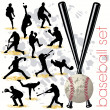 Baseball Players Silhouettes Set - Stock Vector