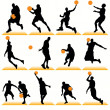 Basketball Players Silhouettes Set — Stock Vector