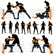 Boxers Silhouettes Set - Stock Vector