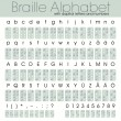 Braille alphabet with letters and numbers — Stock Vector