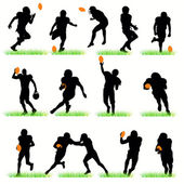 American Football Players Silhouettes Set — Stock Vector