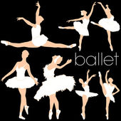 Ballet Dancers Silhouettes Set — Stock Vector