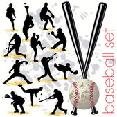 Baseball Players Silhouettes Set — Stock Vector