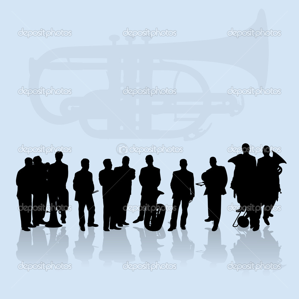 Brass Players Silhouettes Set — Stock Vector #6761574
