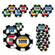 Casino Chips Set — Stok Vektör