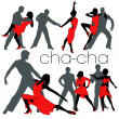 Stock Vector: Cha-cha Dancers Silhouettes Set