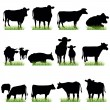 Stock Vector: Cows Silhouettes Set