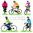 Bikers Silhouettes Set - Stock Vector