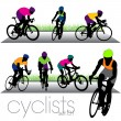 Bikers Silhouettes Set — Stock Vector