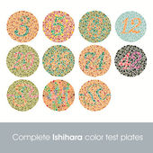Complete Ishihara Color Test Plates — Stock Vector