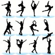 Figure Skating Silhouettes Set — Stock Vector