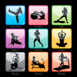 Fitness Silhouettes Buttons Set — Stock Vector