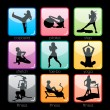 Stock Vector: Fitness Silhouettes Buttons Set