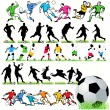34 Football Silhouettes Set — Stock Vector