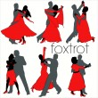 Foxtrot Dancers Silhouettes Set — Stock Vector
