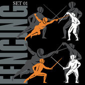 Fencing Silhouettes Set — Stock Vector