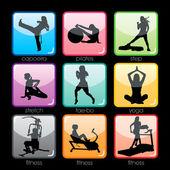 Zestaw przycisków fitness sylwetka — Wektor stockowy