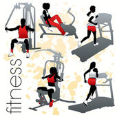 Fitness Silhouettes Set — Stock Vector