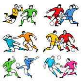 12 Football Players Silhouettes Set — Stock Vector