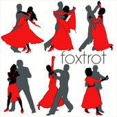 Foxtrot Dancers Silhouettes Set — Stock Vector
