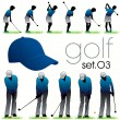 12 Golf players silhouettes set — Stock Vector