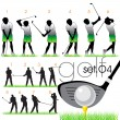 Stock Vector: 14 Golf players silhouettes set