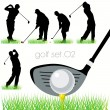 5 Golf players silhouettes set — Stock Vector