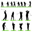 Stock Vector: 16 Golf players silhouettes set