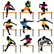9 Hurdles Athletes Silhouettes Set — Stock Vector