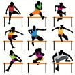 9 Hurdles Athletes Silhouettes Set — Stock vektor