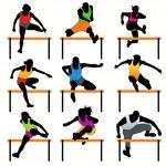 Набор 9 силуэты спортсменов с барьерами — Cтоковый вектор