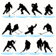 Постер, плакат: 12 Hockey Players Silhouettes Set
