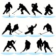 Stock Vector: 12 Hockey Players Silhouettes Set