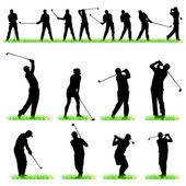 Impostare 16 sagome di giocatori di golf — Vettoriale Stock
