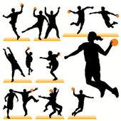 14 Handball Players Silhouettes Set — Stock Vector