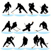 12 Hockey Players Silhouettes Set — Stock Vector