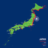 2011 Japan Earthquake Map — Vetor de Stock