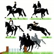 Jockeys and horses silhouettes — Vettoriali Stock